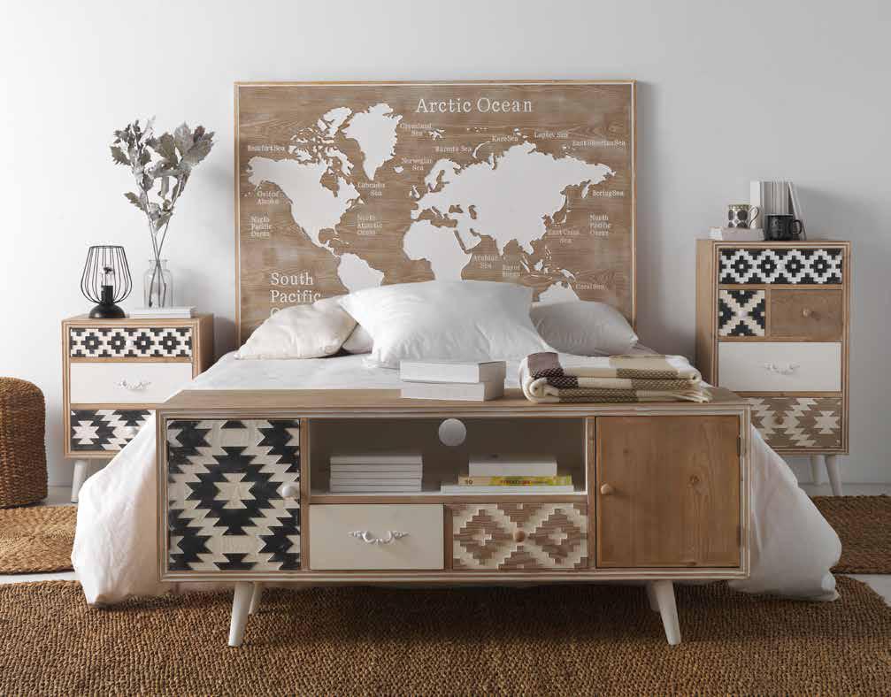 Ambiente dormitorio mapamundi